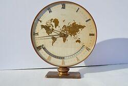 FINE QUALITY MIDCENTURY BRASS KIENZLE WORLD TIME ZONE DESK MANTEL CLOCK ORIGINAL