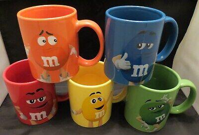 Unused 5 different M&M's Mugs Belgium Blue/Red/Yellow/Miss Green/Orange