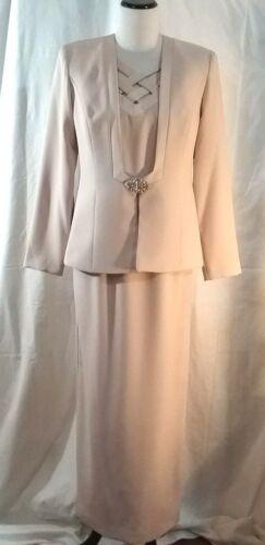 Mother of the Bride Dress & Jacket Karen Miller Champagne Rhinestone Size 8