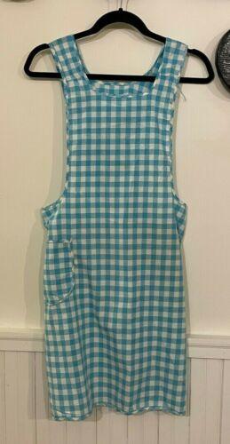 Vintage 1950s Handmade Cotton Full Bib Apron Blue and White Gingham Check Pocket