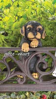 (BLACK & TAN puppy dog climbing fence hanging outdoor garden statue patio yard)