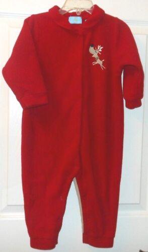 """Moonbeams Un ise 18m Holiday red fleece sleeper,collar,snap front""""Reindeer"""" appl"""