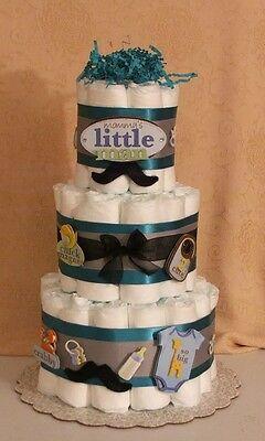 3 Tier Diaper Cake Mommy's Little Man Dashing Mustache Baby Shower Centerpiece