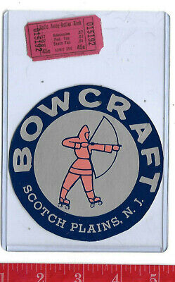 vintage lot roller rink decal Bowcraft Scotch Pines New Jersey & ticket