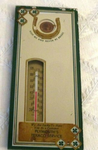"""VINTAGE TEXACO GAS & OIL GAS STATION SERVICE-THERMOMETER MIRROR-LUCKY PENNY-8"""""""
