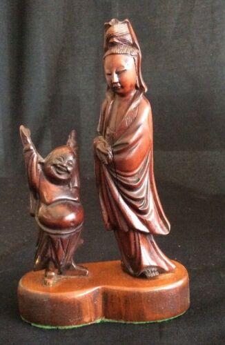 Vintage Chinese Hand Carved Hard Wood Goddess Kuan Yin With Happy Buddha