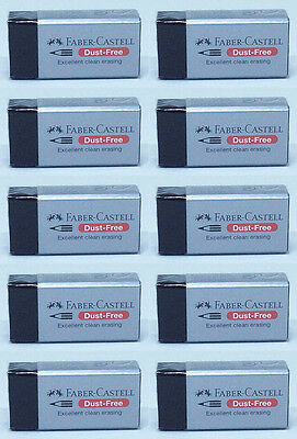 10pcs Black Faber Castell Dust Free Rubber Eraser Pencil Excellent Clean