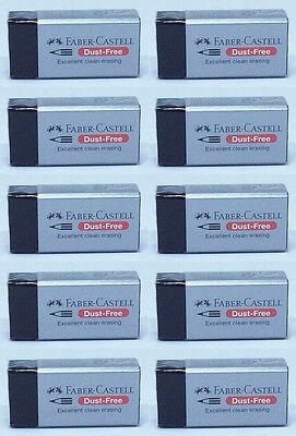 10pcs Black Faber Castell Dust Free Rubber Eraser Pencil Excellent Clean