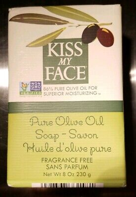 Kiss My Face NIB Pure Olive Oil Soap 8oz Discontinued Fragrance Free 1 BAR
