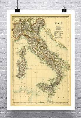 Italy 1887 Antique Italian Detailed Map Rolled Canvas Giclee Print 24x32 in. - 1887 Antique Map