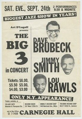 Dave Brubeck Jimmy Smith and Lou Rawls 1960 Original Jazz Poster NYC J6900