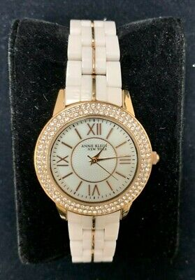 Anne Klein NY 12/2298 Women's 34mm Rose Tone Ceramic Watch