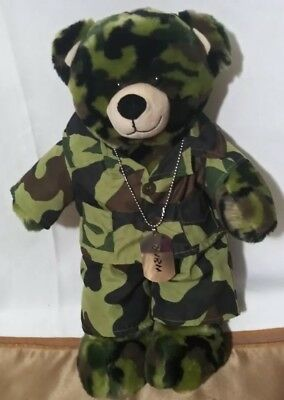 Build-A-Bear Workshop Camouflage Camo Plush Teddy Bear +Outfit and Dog Tag 17