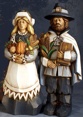 Ceramic Bisque Ready to Paint Whittled John and Pricilla Pilgrims