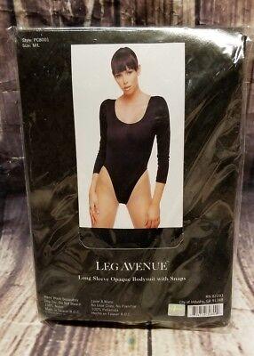 NEW Leg Avenue Long Sleeve Opaque Bodysuit with Snaps Size M/L Black Avenue Long Sleeve Bodysuit