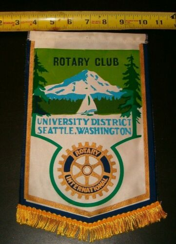 VINTAGE Rotary International Club  banner flag  UNIVERSITY DISTRICT SEATTLE WASH