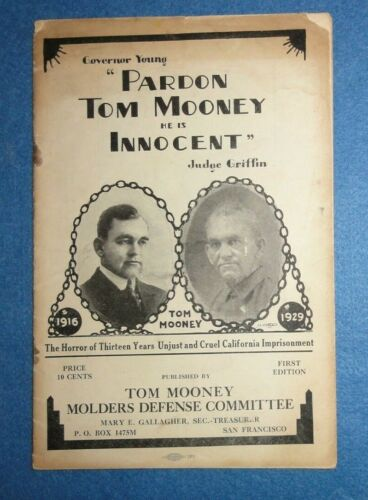"1929 Socialist Party Booklet ""Governor Young, Pardon Mooney & Billings."" Labor."
