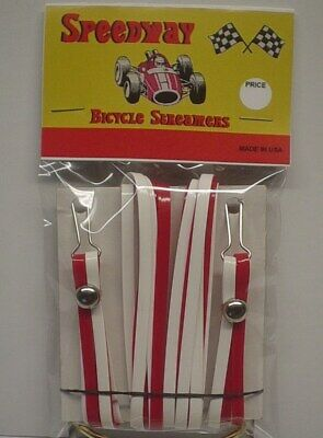 Speedway Handlebar Streamers set of 2 Red & White bike Bicycle BRAND NEW - Red And White Streamers