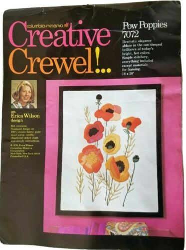 "Columbia Minerva Crewel Kit #7072 16"" x 20"" Pow Poppies Flower Floral  Free Ship"