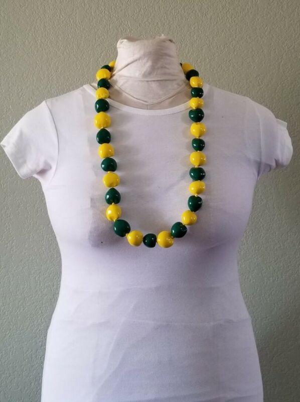 Green & Yellow Kukui Nut Graduation Lei  Necklace Party Ready2Ship