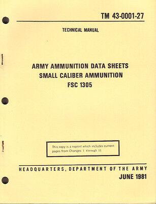 Small Caliber Ammunition, Army Ammunition Data Sheets(1981 edition w/ch 1 to