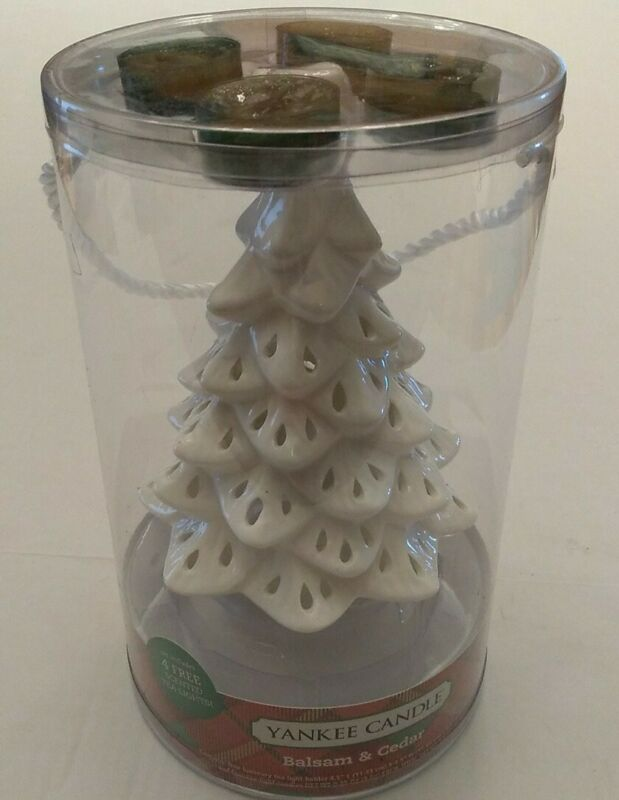 New YANKEE CANDLE White Luminary Christmas Tree & 4 Balsam & Cedar Tea Lights