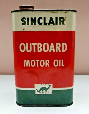 Vtg Sinclair Outboard Motor Oil 1 Quart Can 2 cycle Dinosaur Full Sealed