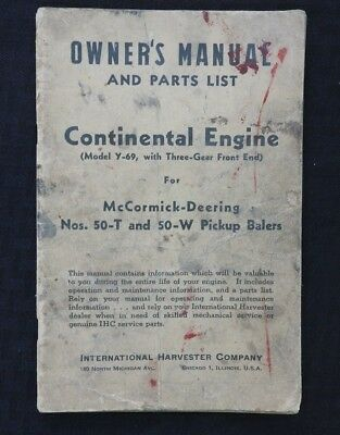 1945 Continental Y-69 Engine Mccormick-deering 50-t 50-w Baler Operators Manual