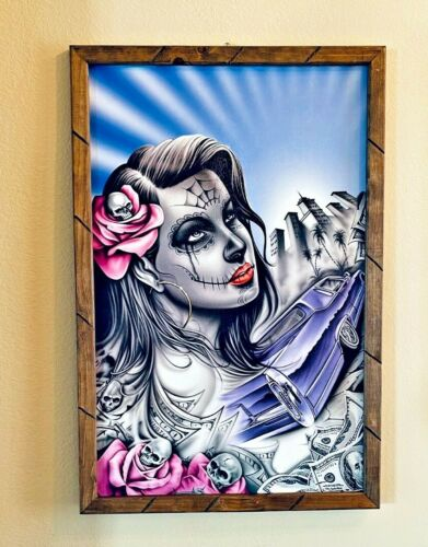 "Mexican Day of the Dead Catrina Print Poster Framed Painting 36"" x 24"" X Large"
