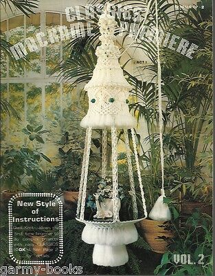 Classic Macrame Premiere #2 Vintage Pattern Book NEW Plant Hangers Table Lamps