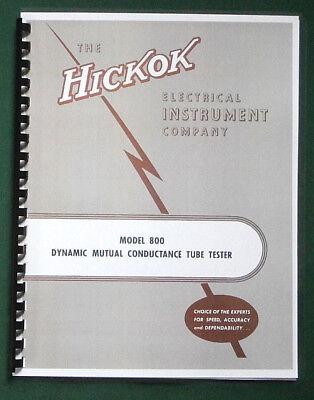 Hickok 800 Instruction Manual Tube Charts