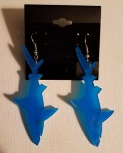 Shark -blue- acrylic earrings