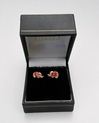 10k Gold Enamel Red Elephant Earrings -