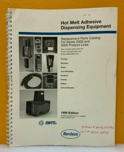 Nordson 1999 Hot Melt Adhesive Dispensing Equipment Replacement Parts Catalog.