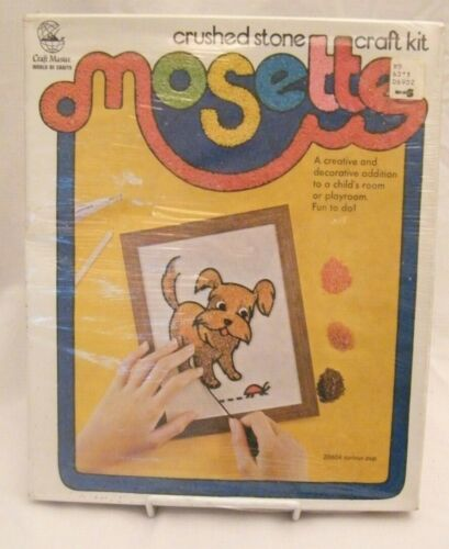 New VINTAGE Mosette Craft Master Crushed Stone Kit Curious Pup 20604