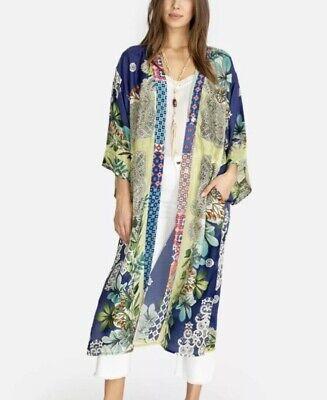 💚 JOHNNY WAS Womens Wasabi Printed Silk Long Kimono Jacket Medium NWT $365