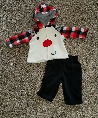 0-3 Months Baby Boy Rudolf The Red Nosed Reindeer 2 Piece Fleece Outfit](Rudolf Outfit)