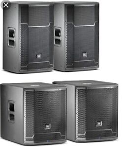 JBL Pro Speakers and Subs PRX715 tops and PRX718XLF subs
