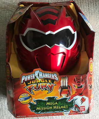 (POWER RANGERS JUNGLE FURY RED MEGA MISSION HELMET NEW IN PACKAGE)