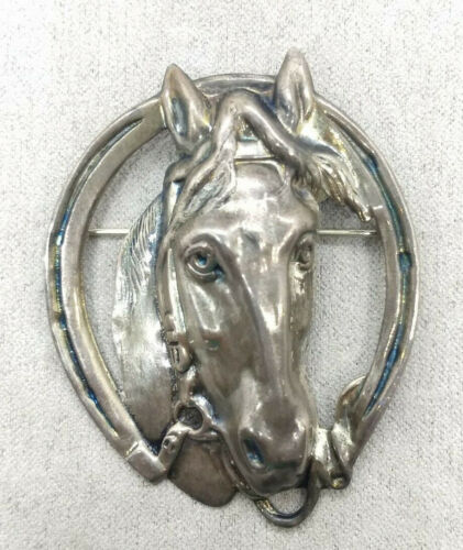 Vintage Mid Century LANG Sterling Silver Equestrian Horse Lucky Horseshoe Brooch