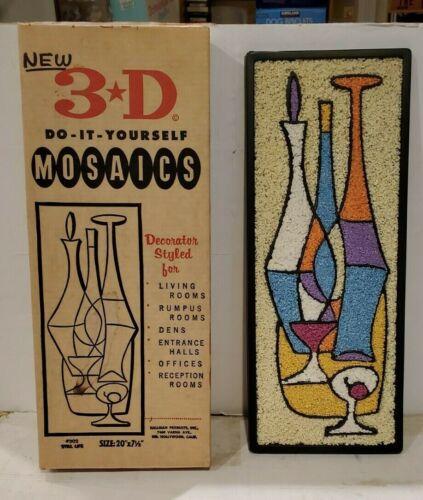 "1960s Original Gravel Mosaic Wall Art Mid Century Modern Wine Decanter Fruit 20"""