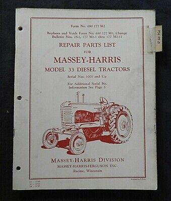 1955 Massey Harris M-h 33 Diesel Tractor Parts Catalog Manual Very Nice