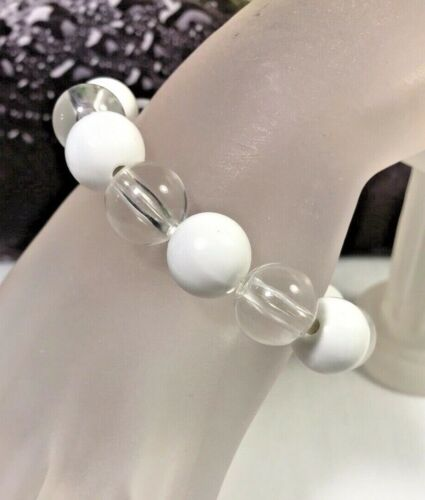 Vintage White & Clear Lucite Ball Bead MOD Stretch Bracelet
