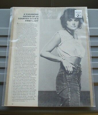 """LINDA RONSTADT VINTAGE ARTICLE """"VAGABOND GROWS UP AS COUNTRY ROCK'S FIRST LADY"""""""