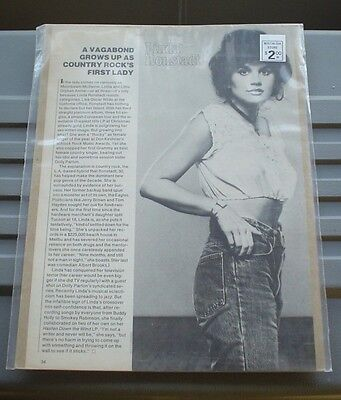 "LINDA RONSTADT VINTAGE ARTICLE ""VAGABOND GROWS UP AS COUNTRY ROCK'S FIRST LADY"""