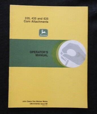 John Deere 55 95 105 Combine 335 435 635 Corn Attachments Operator Owners Manual