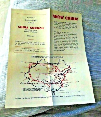 VINTAGE PAMPHLET CHINA COUNCIL KNOW CHINA BERKELEY CA MAP USA SUPERIMPOSED 1943