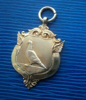 Vintage Sterling Silver GILT Fob Medal Racing Pigeon h/m 1949  - Portland H.S.