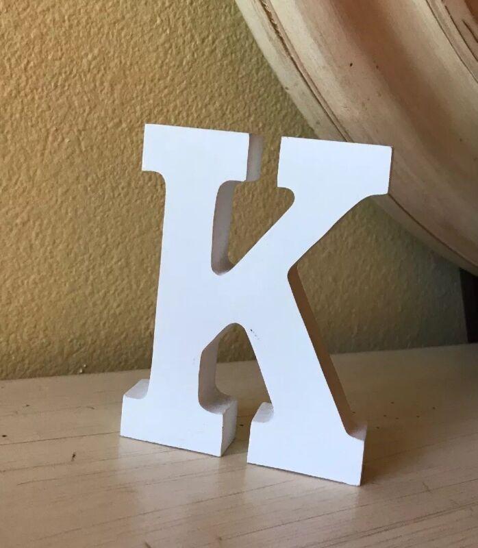 """Letter K - Wooden - White - Monogram - Block 4 1/2"""" Tall"""