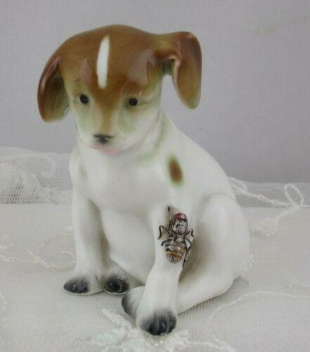 Vintage German Porcelain Dog Figurine Bug on Leg